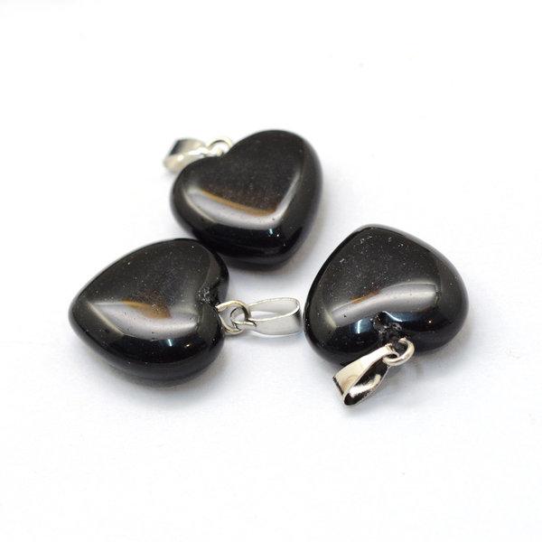 Natural Black Stone Gemstone Charm Heart 17x15mm
