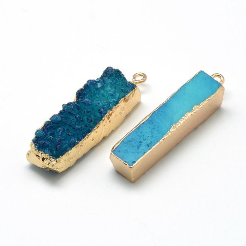 Natural Druzy Agate Charm Blue 40x10mm