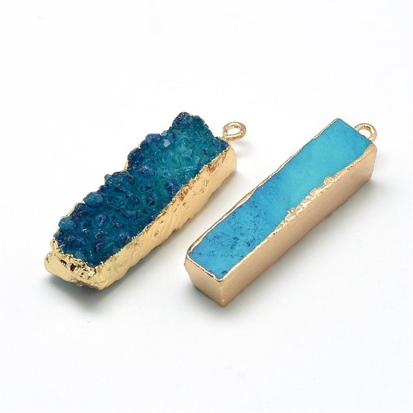 Natural Druzy Agaat Edelsteen Bedel Blauw 40x10mm