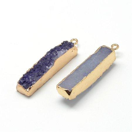 Natural Druzy Agate Charm Purple 40x10mm