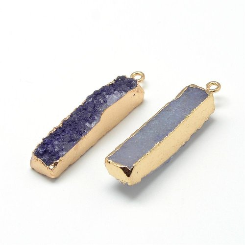 Natural Druzy Agate Charm Purple 40x10mm