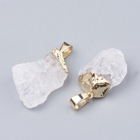 Natural Quartz Crystal Nugget Charm 25x15mm