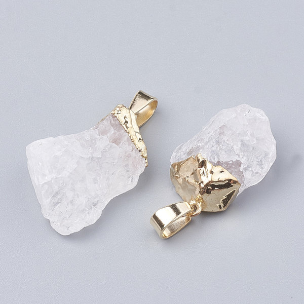 Natural Quartz Crystal Nugget Edelsteen Bedel 25x15mm