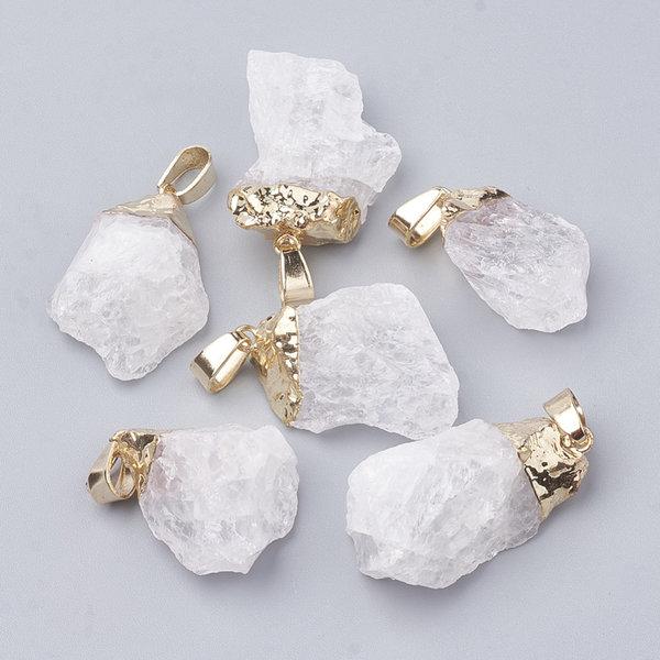 Natural Quartz Crystal Nugget Gemstone Charm 25x15mm