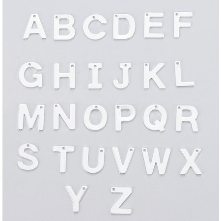 Stainless Steel Letter 'A' Initial Bedel 12mm Zilver