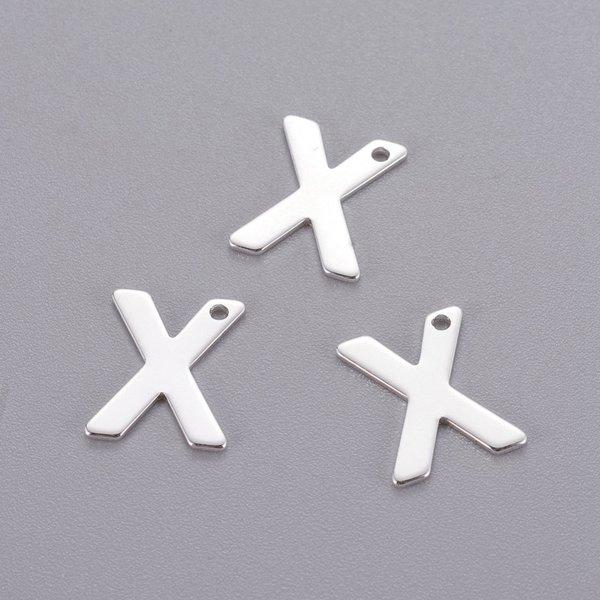 Stainless Steel Letter K Initial Bedel 12mm Zilver