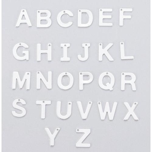 Stainless Steel Letter 'K' Initial Bedel 12mm Zilver