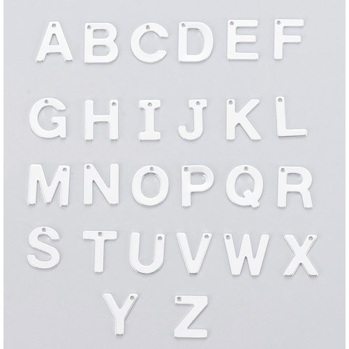 Stainless Steel Letter 'M' Initial Bedel 12mm Zilver