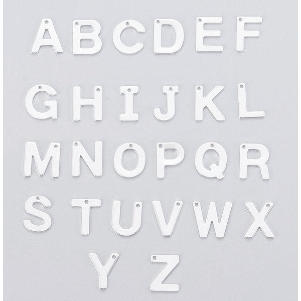 Stainless Steel Letter N Initial Bedel 12mm Zilver