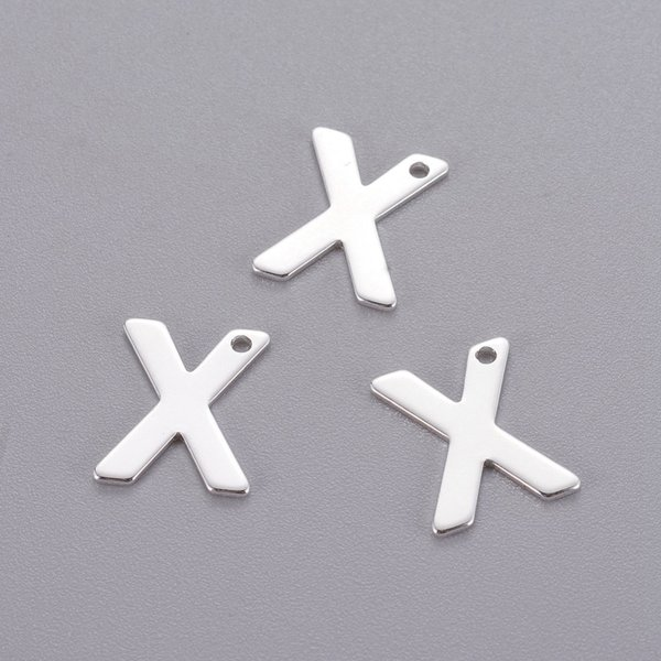 Stainless Steel Letter R Initial Charm 12mm Silver