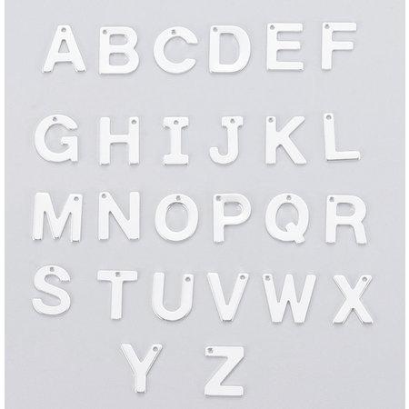 Stainless Steel Letter 'U' Initial Bedel 12mm Zilver