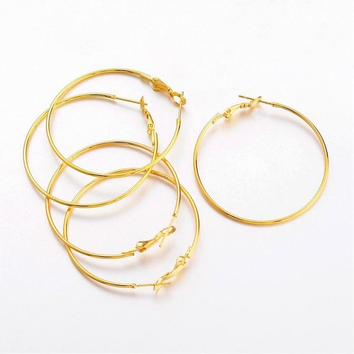 Earring Hoops Golden Nickel Free 40mm, 4 pieces