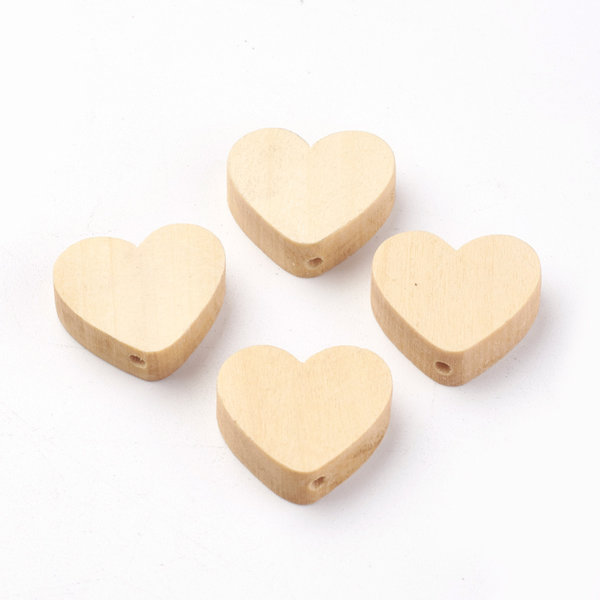 Wooden Heart Beads 20mm, 10 pieces