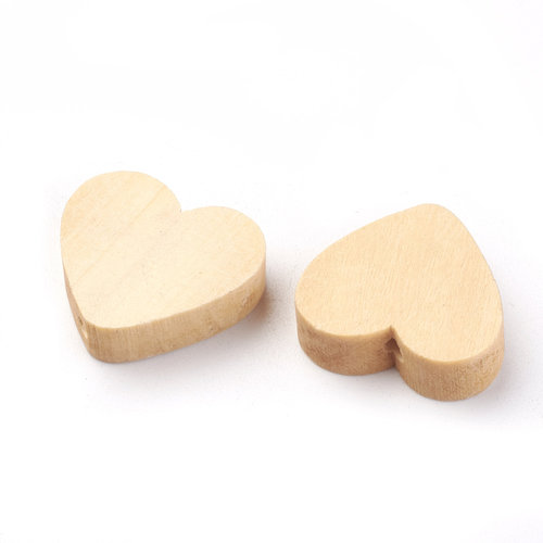 10 pieces Wooden Heart Beads 20mm
