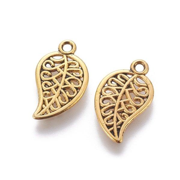 Stylish Leaf Charm Gold Nickel Free 18x10mm, 10 pieces