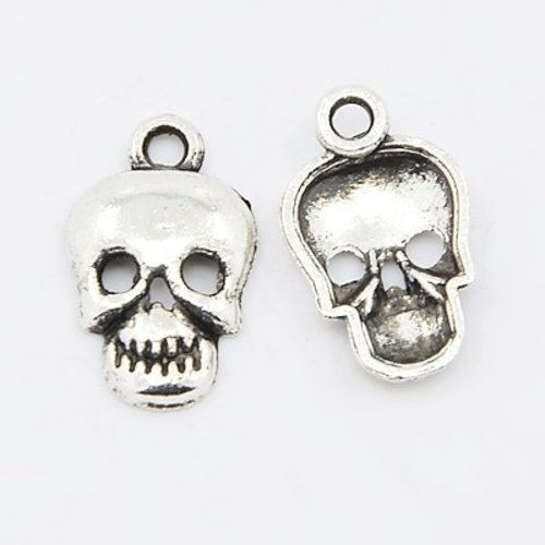 6 pieces Skull Charm Silver 16x10mm