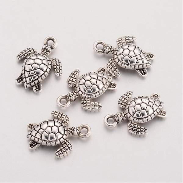 Sea Turtle Charm Silver 16x12mm, 6 pieces