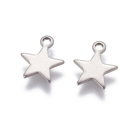 5 pieces Stainless Steel Star Charm Silver 10x9mm