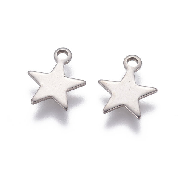 Stainless Steel Star Charm Silver 10x9mm, 5 pieces