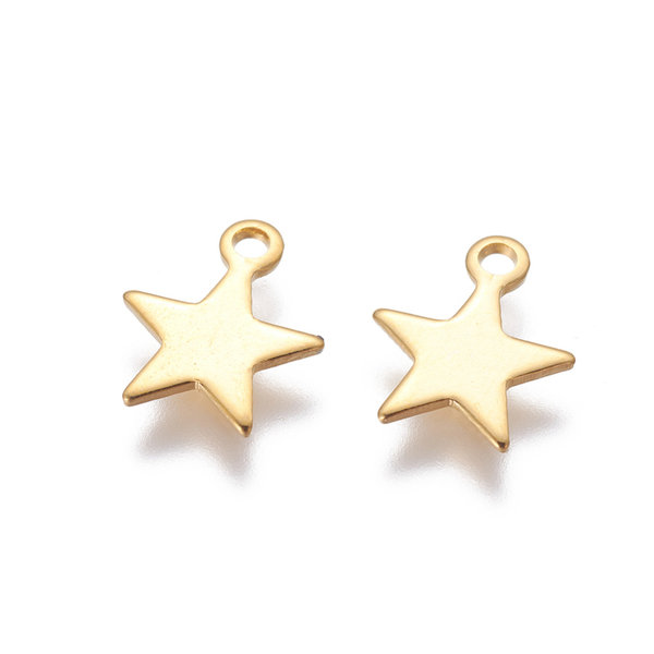 Stainless Steel Star Charm Gold 10x9mm, 5 pieces