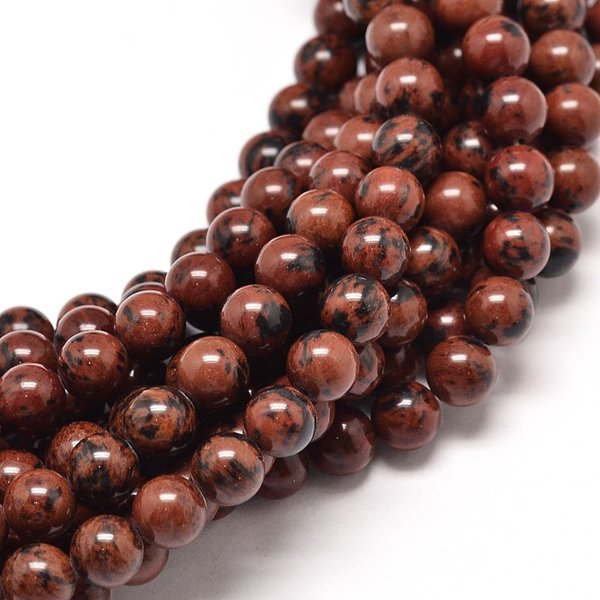 Natural Mahogany Obsidian Gemstone Beads 6mm, strand 63 pieces