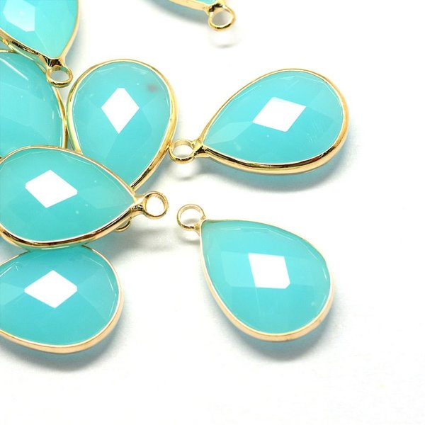 Faceted Glass Pendant Drop Turquoise 18x10mm, 2 pieces