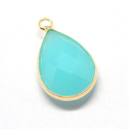 Glass Pendant Drop Turquoise 18x10mm