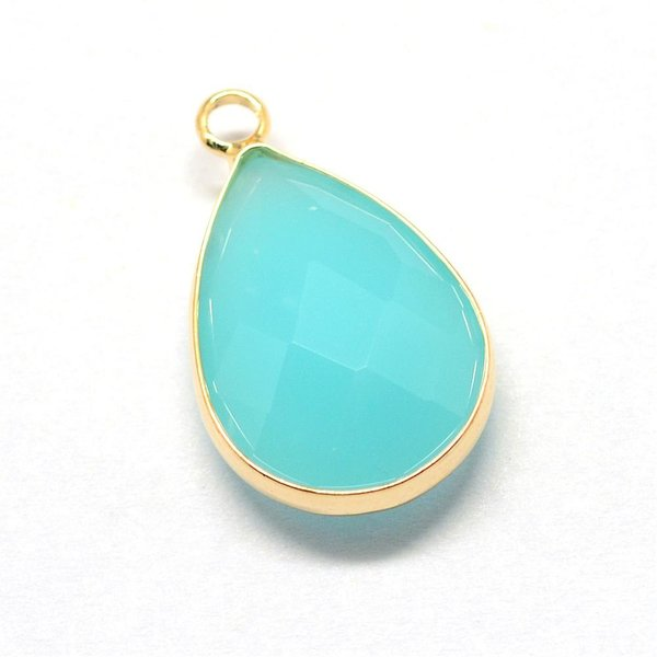 Faceted Glass Pendant Drop Turquoise 18x10mm