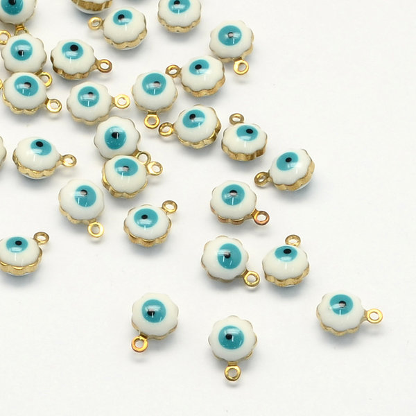 Charm with Eye White and Turquoise 9x7mm, 5 pieces