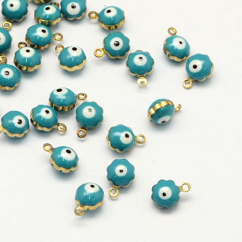 5 pieces Charm with Eye White and Turquoise 9x7mm