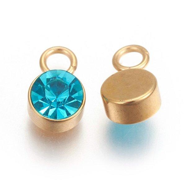 Stainless Steel Bedel Goud met Blue Zircon Glass Rhinestone 10x6mm