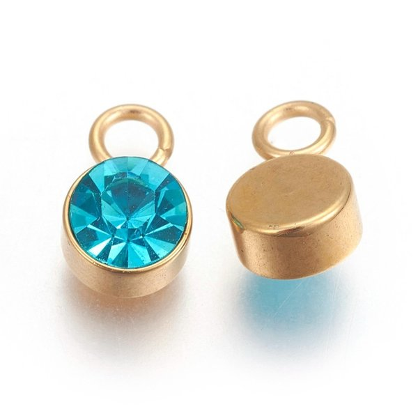 Stainless Steel Charm Gold with Blue Zircon Glass Rhinestone 10x6mm