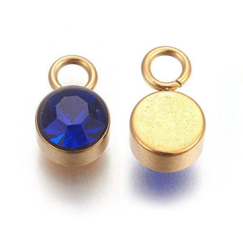 Stainless Steel Charm Gold with Sapphire 10x6mm