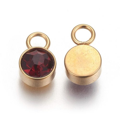 Stainless Steel Charm Gold with Garnet 10x6mm