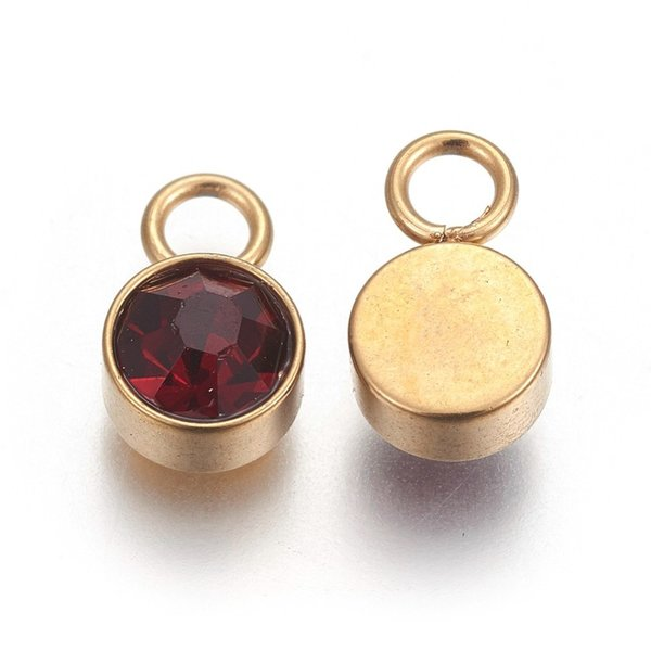 Stainless Steel Charm Gold with Garnet Glass Rhinestone 10x6mm