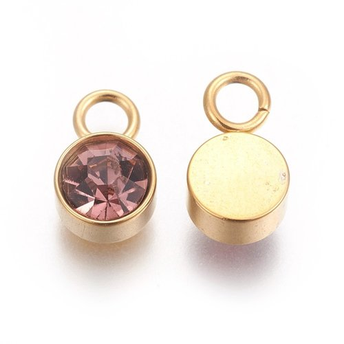 Stainless Steel Charm Gold with Light Amethyst 10x6mm