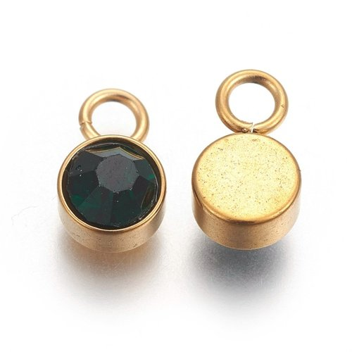 Stainless Steel Charm Gold with Emerald 10x6mm