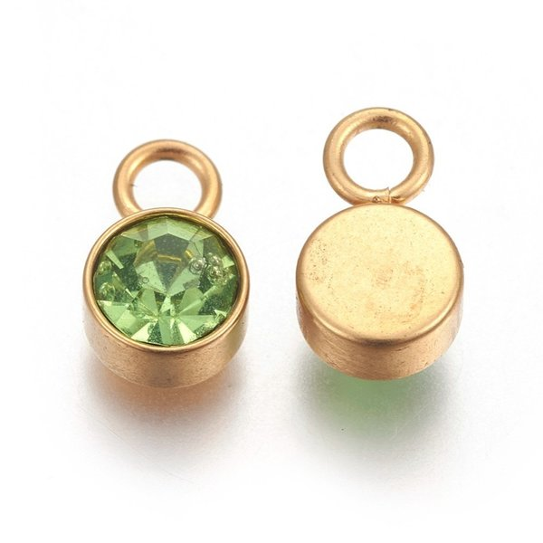 Stainless Steel Charm Gold with Peridot Glass Rhinestone 10x6mm