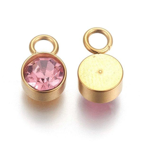 Stainless Steel Bedel Goud met Light Rose Glass Rhinestone 10x6mm