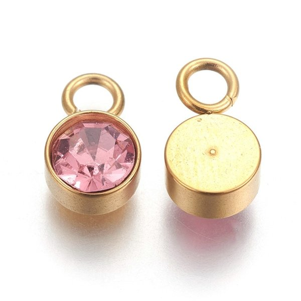 Stainless Steel Charm Gold with Light Rose Glass Rhinestone 10x6mm