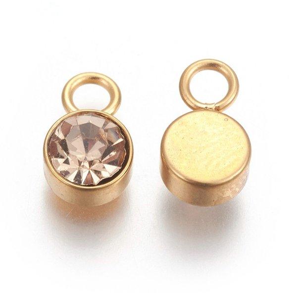 Stainless Steel Charm Gold with Light Colorado Topaz Glass Rhinestone 10x6mm
