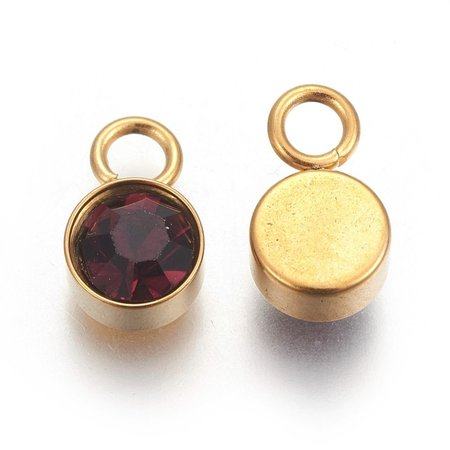 Stainless Steel Charm Gold with Siam 10x6mm