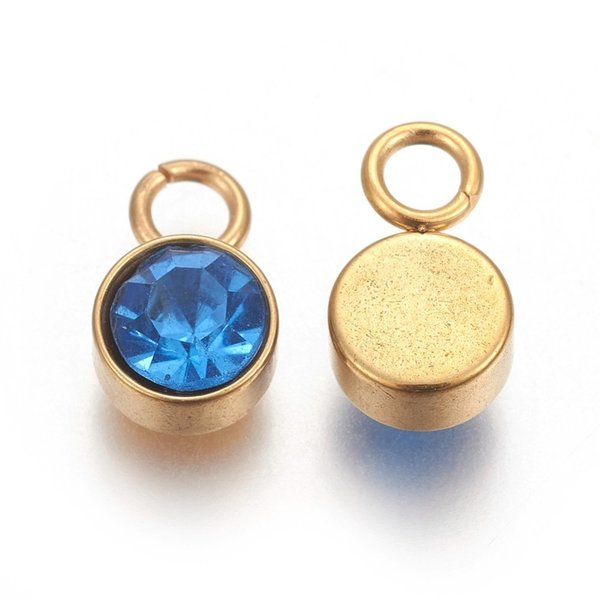 Stainless Steel Charm Gold with Light Sapphire Glass Rhinestone 10x6mm