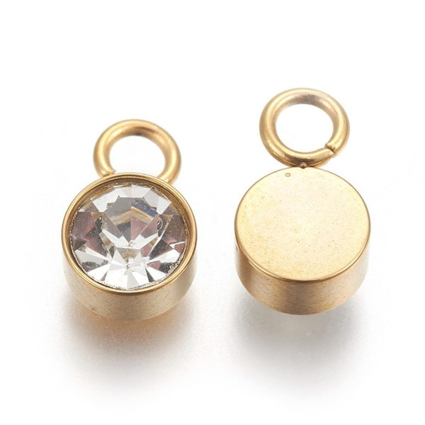 Stainless Steel Charm Gold with Crystal Glass Rhinestone 10x6mm