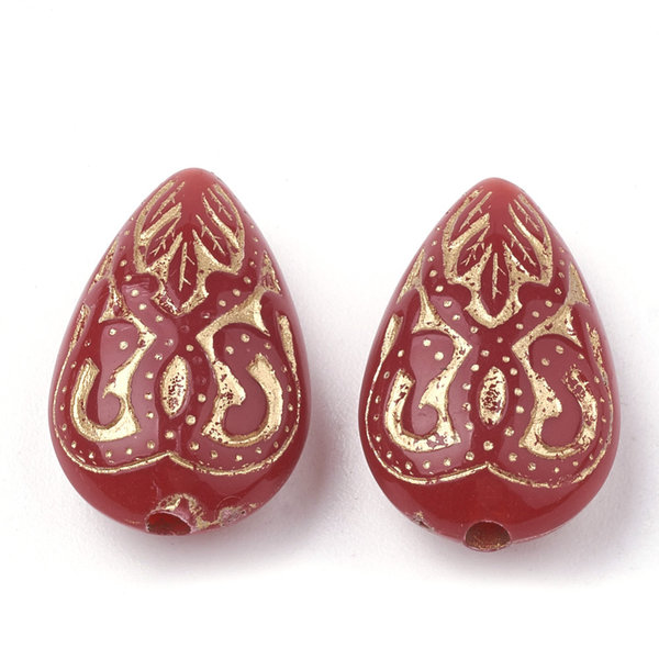 Acrylic Beads Drop Vintage Red 18x11mm, 10 pieces