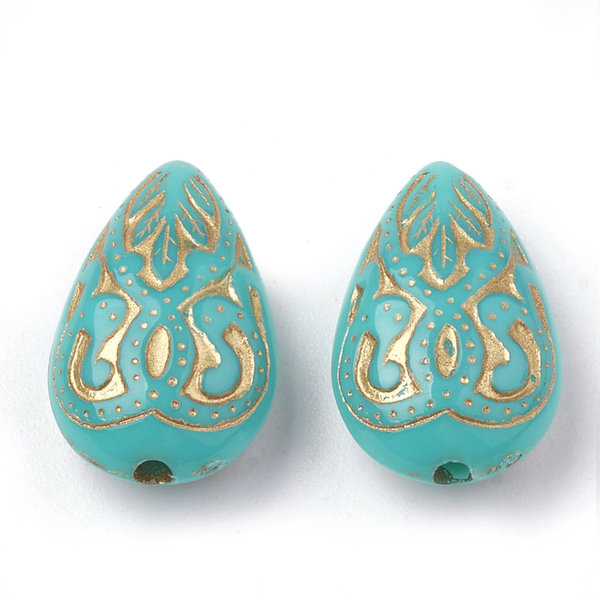 Acrylic Beads Drop Vintage Turquoise 18x11mm, 10 pieces