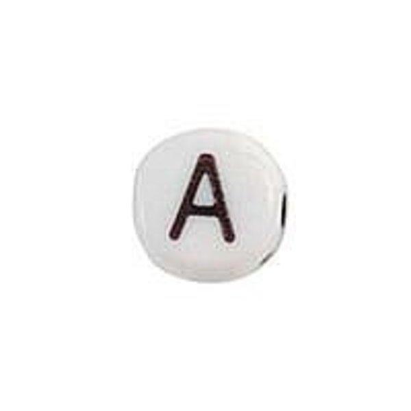 20 pieces Alphabet Bead Acrylic Black White 7mm A