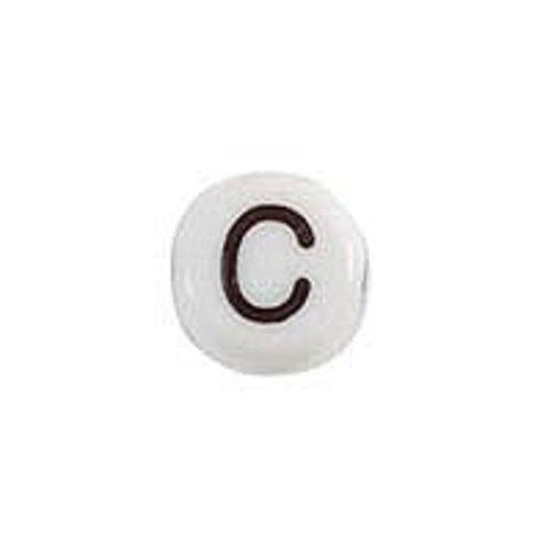 20 pieces Letter Bead Acrylic Black White 7mm C