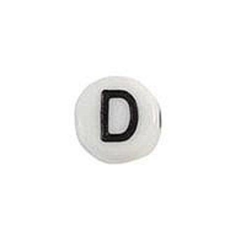 20 pieces Letter Bead Acrylic Black White 7mm D