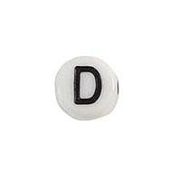 Letter Bead Acrylic Black White 7mm D, 20 pieces